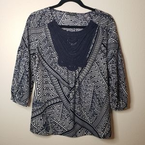 ADRIANNA PAPELL Navy Pattern Blouse Size XS
